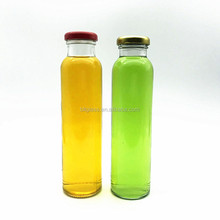 hot sale 300ml 12oz tall thin empty juice beverage glass bottle with screw cap