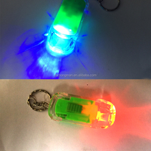 Creative gifts can be printed logo LED light mobile phone pendant key chain pendant car shape with light key chain pendant