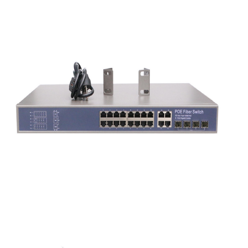 Fast Ethernet POE 16 port fiber optic switch 4 port gigabit combo ports