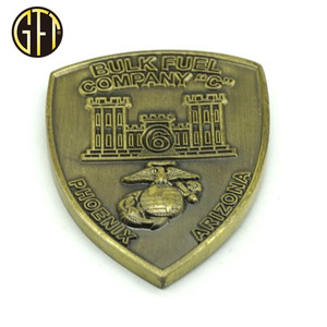 We Make High Quality Customized Coin Shield shape 3D brass Challenge Coins