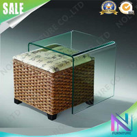 end small curved mirrored side bent glass center coffee table top with rattan stool