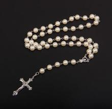 Wholesale Easter's Gift Cross Pendant Rosary Necklace Imitation Pearl Jesus Necklace Christian Jewelry for Women Men