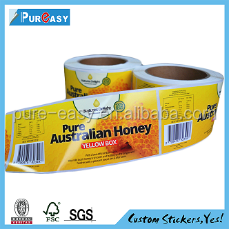 Custom full color printing glass honey jar sticker labels