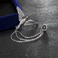 2016 New Alloy Silver England Tassels Chain Brooch For Men Suit Brooches Pins Fashion Jewelry
