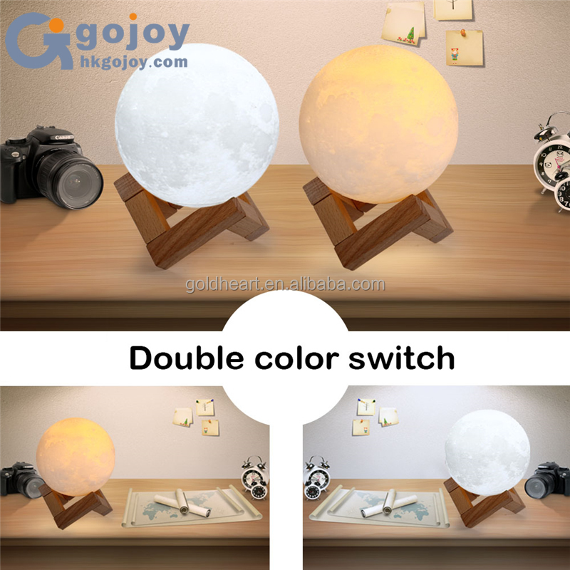 Innovative Green Environment PLA Touch Switch Night Light 3D Printing Moon Lamp Lunar