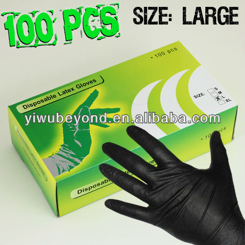 Black Latex Tattoo Glove Powder Free MADE IN YIWU