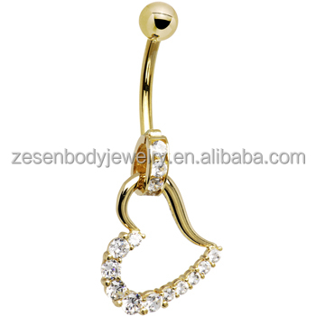 Cheap wholesale crystal heart shape gold titanium belly ring body jewelry