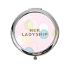 HX-7113 Trendy ladies fashion 2 way metal compact mirror for purse hanger