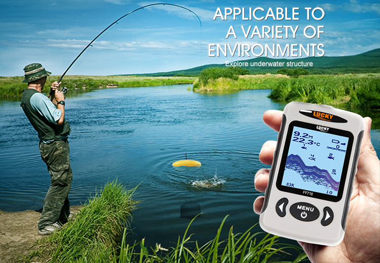 "LUCKY FF718D-Ice 2.2"" LCD Portable Fish Finder Outdoor 200KHz/83KHz Dual Sonar Frequency 100M Fish Detector for Ice Fishing"