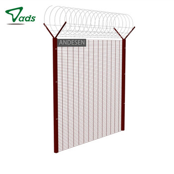 Serried horizontal high security 358 anti-climb fence