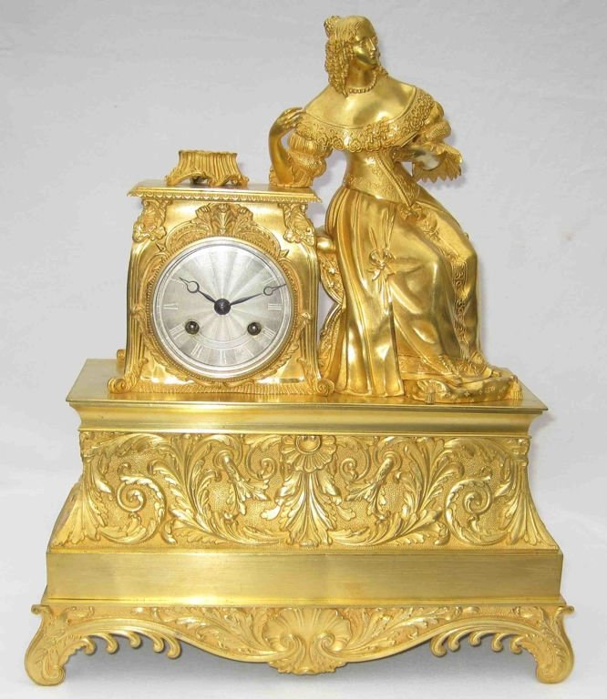 Authentique antique French bronze table clock, romantique period