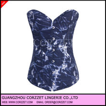 New denim strapless magical blue white corset 2013
