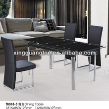 2013 best seller modern low price extendable glass dining table and leather chairs