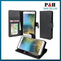 Cheaper Wallet Style Stand PU Leather Flip Case for Samsung Galaxy E7