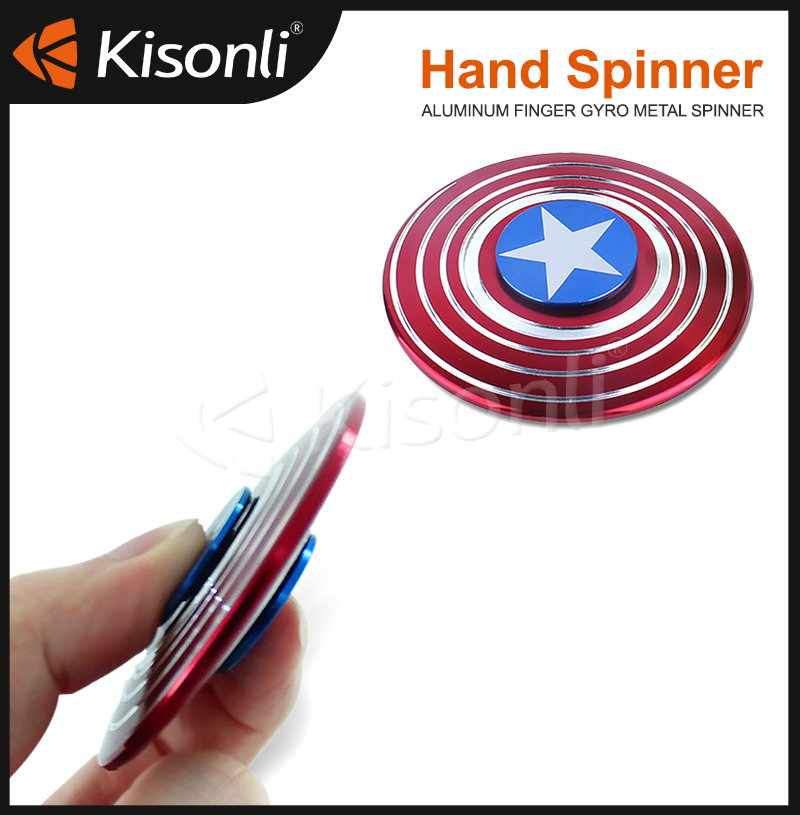 2017 Fidget Tri Spinner Captain America Relieve Stress Finger Spiner Aluminium Hand Toys Stress Colorful electric hand spinner