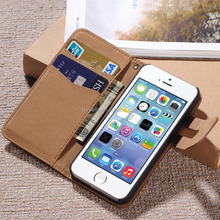 Luxury Design stand flip leather case for iphone 5 5S 5SE with card holder