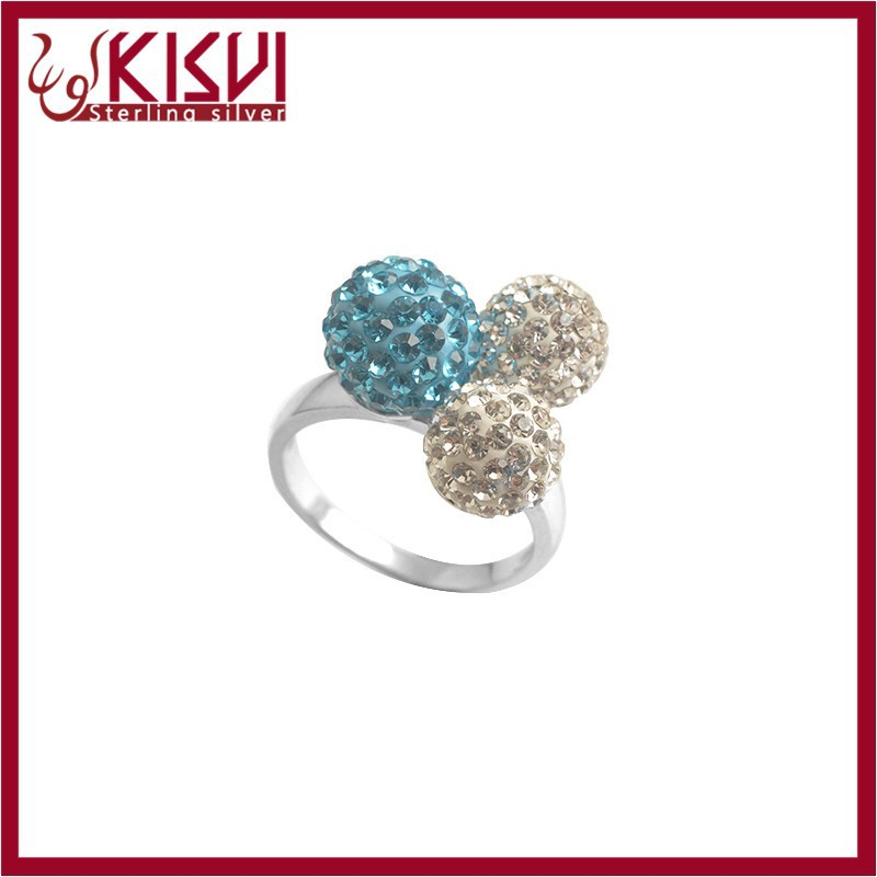 925 sterling silver Rhinestone rings white and blue from kisvi factory with high quality