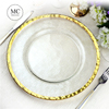 Elegant round crystal antique gold rim wedding dinner charger plates