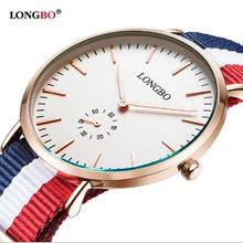 Longbo Valentine Brand Thin Nato Nylon Fabric Multiple Strap Japan Quartz Unisex Watches For Couples