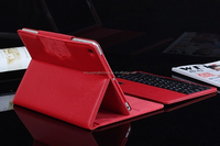 New fashion portable folding stand bluetooth keyboard PU leather Red case for Ipad Air 2