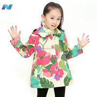 New Cute Kids Girls Fashion Long Sleeve Big Flowers Print Coat Outwear