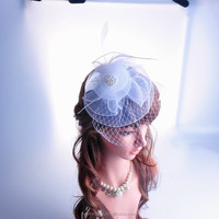 New product 2016 Fashion lace flower beaded wedding fascinator headband bride hair accessories