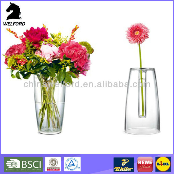 Double-sided acrylic clear plastic vases for centerpieces