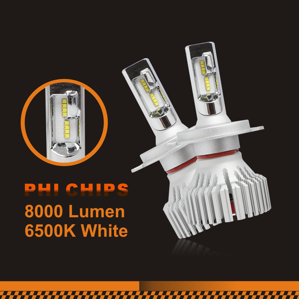 Auto Headlight Conversion Kits 9005 9006 H4 H11 E8 LED Headlights 30W Phi Chips Plug & Play 8000 Lumens 6500K White