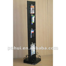 elegant double sides metal rotating floor display stand for shop promotion