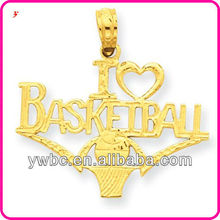 Unique i love basketball w/ball and net pendant