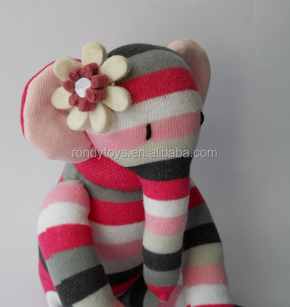 Colorful Strip Stuffed Elephant Knitted Dolls For Sale