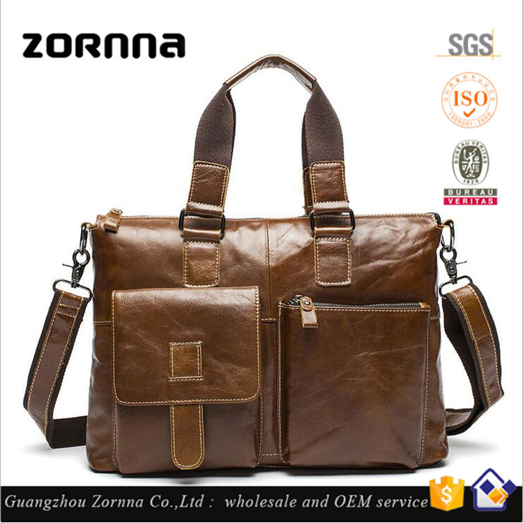 Wholesale high quality customized design fashion leather messenger bag genuine leather briefcase