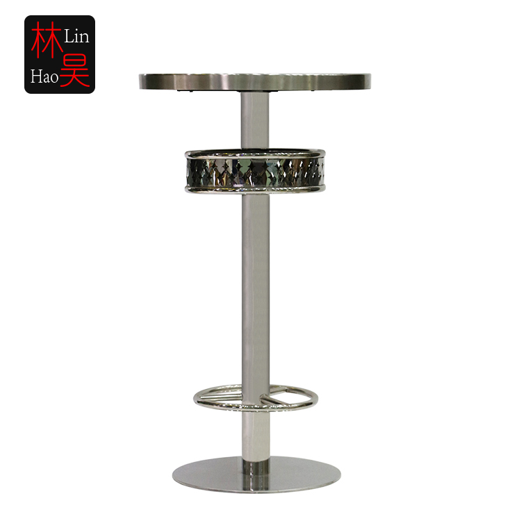 Modern commercial glass long narrow high top bar tables