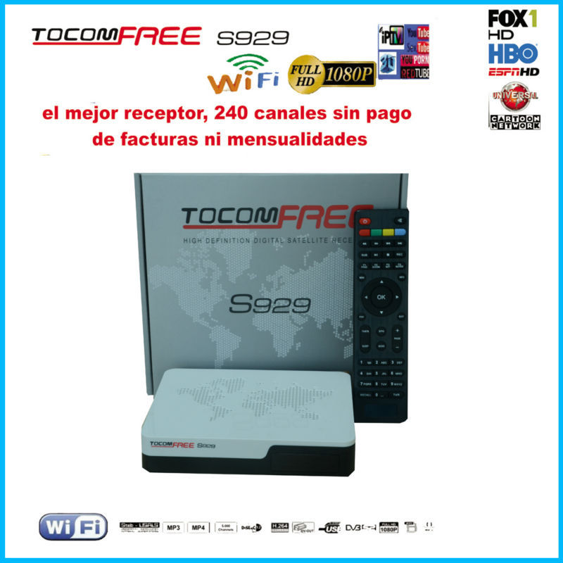 Decodificador de satelite hd tocomfree s929 with iptv 3G iks sks free for Chile