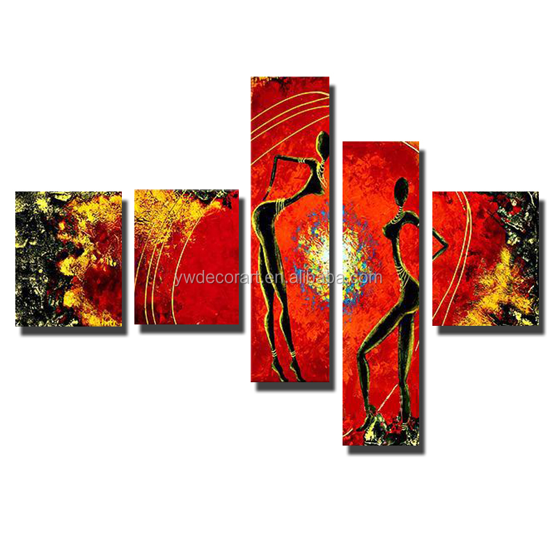 Wholesale 5 Panels 100% Hand Painted Oil Painting Abstract Canvas Painting For Home Decoration