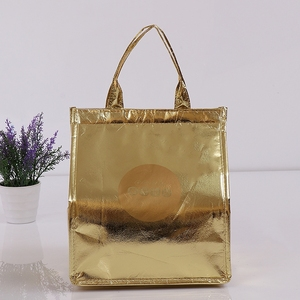 China laminated gold non woven Wholesale custom cheap thermal frozen lunch cooler bag