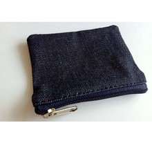 wholesale small denim canvas cotton pouch bag with a zipper