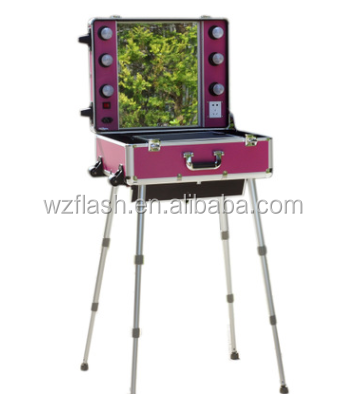 High Quality Trolley Aluminium Makeup Case with Lights and Legs