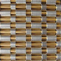 Crimped brass decorative wire mesh for cabinets