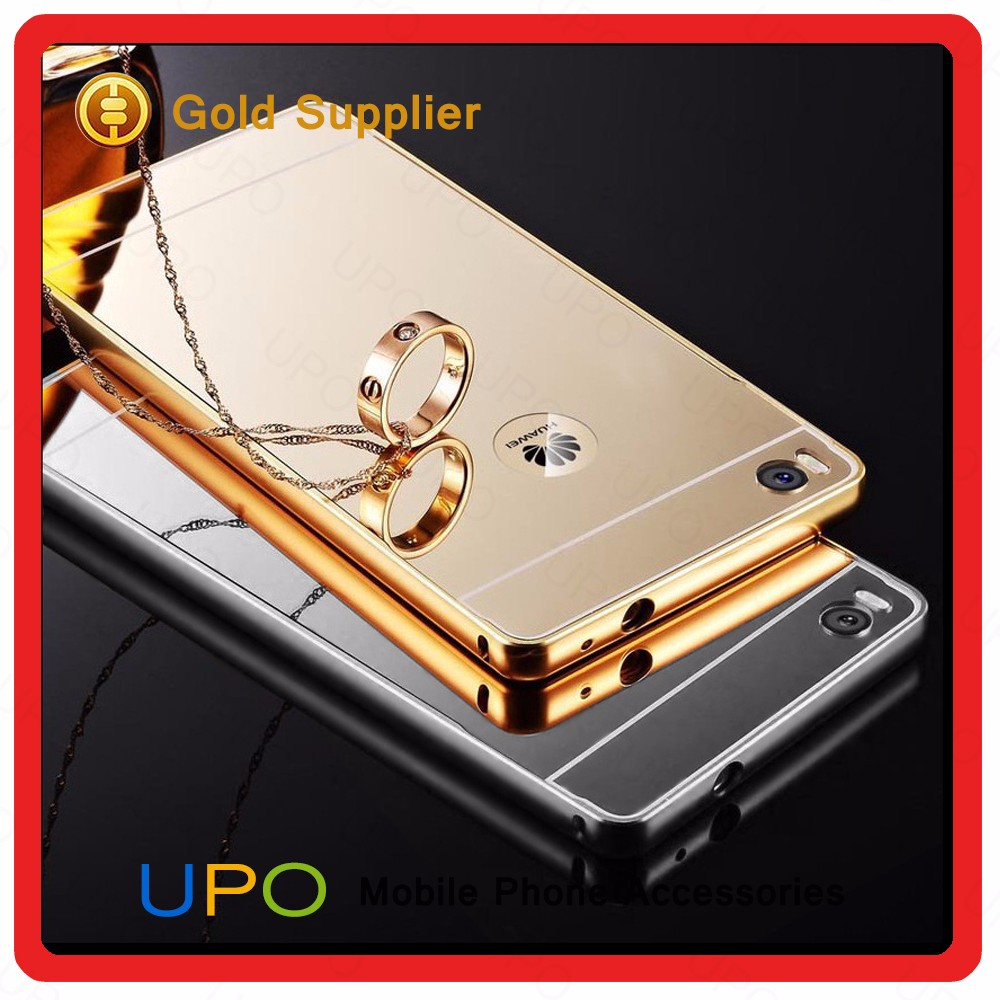 [UPO] Aluminum Metal Bumper Mirror Phone Case Back Cover For Huawei P8