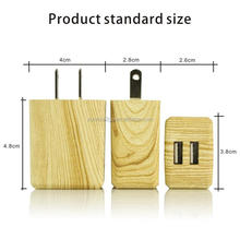 Sell Like Hot Cakes US Plug 5V 2.1A 2 USB Port Wooden Grain Travel Wall Charger