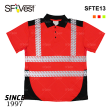 canton fair cheap hi vis reflective safety shirt for men workwear uniform with pocket button polo shirts reflector worker unifom