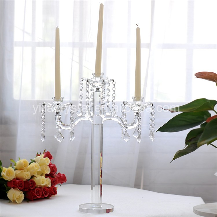 Luxury Tall 5 Arms Crystal Glass Votive Candle Holders with Hanging Crystal