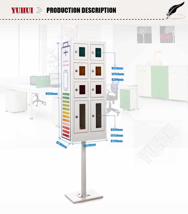CE certificate metal colorful cell phone charging station kiosk
