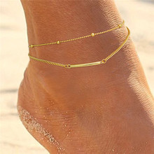 Gold Anklet Designs 14k Gold Plated Double Layer Anklet Silver Beach Feet Silver Chain Jewelry Dropshipping Jewelry