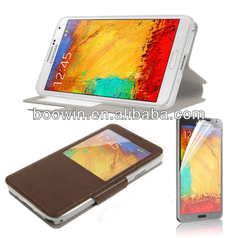 For samsung galaxy Note 3 N9000 brown view window leather case high quality factory's price