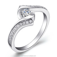 New arrival Vogue Jewelry wedding rhodium color diamond engagement ring CRI0043-B