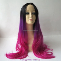 Full Head Black Purple Fuchsia Color Ombre Wig Woman Long Wavy Gradient 3 Colored Heat Resistant Synthetic Hair Cosplay Wig
