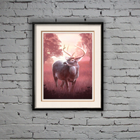 40*60cm handpainted simple black wooden frame deer animal oil painting