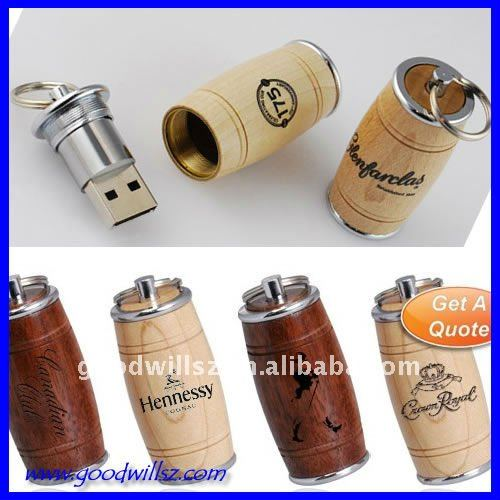 hot-selling wooden beer bottle usb flash drive 2.0